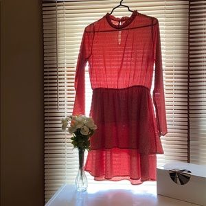 Red patterned long sleeve dress